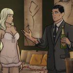 Archer et Katya avec du champagne