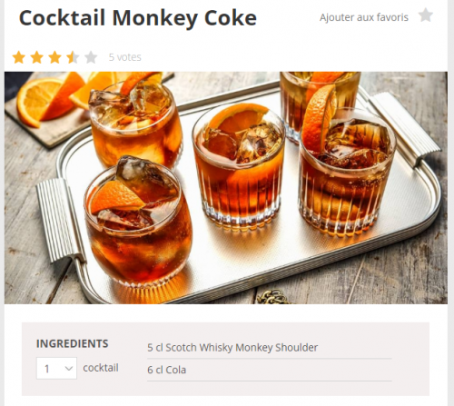 monkey shoulder avec du coca, cocktail...