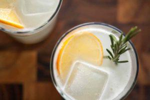 Un Gin Fizz agrémenté d'une rondelle d'orange et d'un brin de romarin