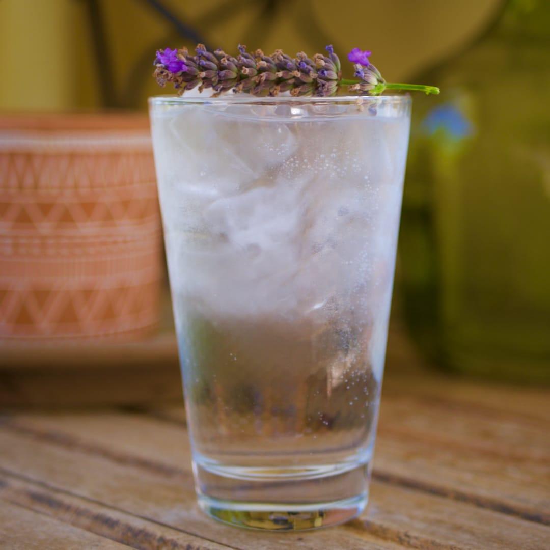 Un verre de Gin & Tonic, garni d'un brain de lavande