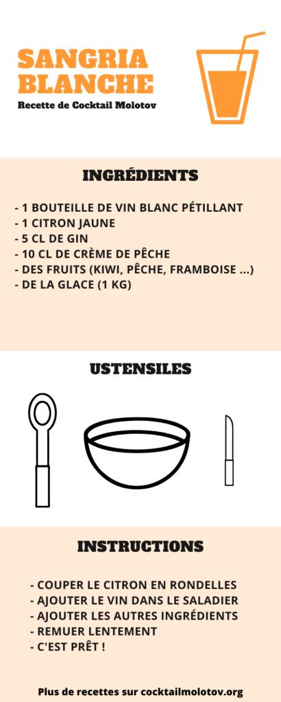 Une fiche recette pratique pour préparer la recette sangria blanche